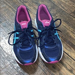 Blue and Pink ASIC running shoes